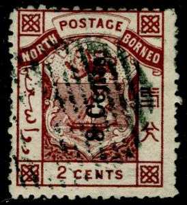 NORTH BORNEO SG2, 8c on 2c red-brown, USED. Cat £850.