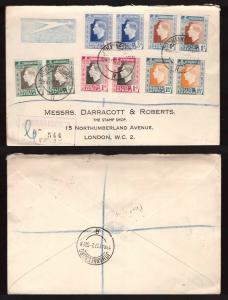 South Africa, 1937 Coronation set pairs on registered cover to London    -BO55