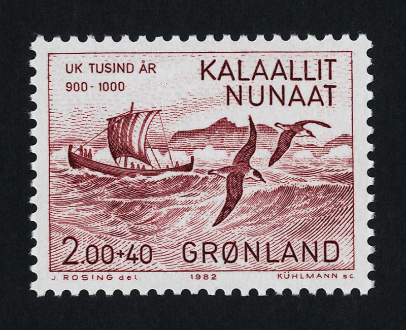Greenland B10 MNH Eric the Red, Longboat, Birds