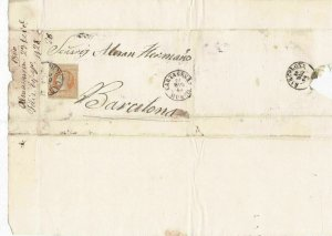 Spain 19th century imperf stamp cover  Ref: 8254