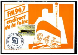 FRANCE 1.10.84 High Speed trains mail transport Postmark