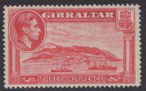 GIBRALTAR SG123 1938 1½d CARMINE p14 MTD MINT