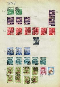 JAPAN STAMP USED STAMPS ON PAGE COLLECTION LOT  #4
