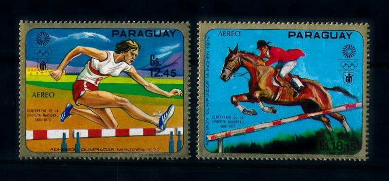 [72480] Paraguay 1970 Olympic Games Munich Horse Athletics Airmail Stamps MNH