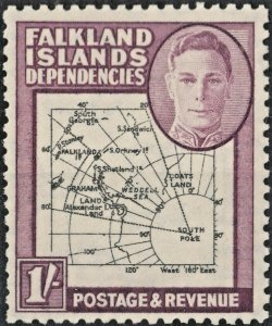 Falkland Islands Dependencies 1946 KGVI 1/- Map with POKE Flaw MH