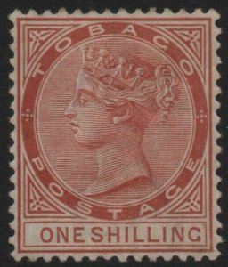 TOBAGO-1896 1/- Orange-Brown Sg 24c light gum toning MOUNTED MINT V40347