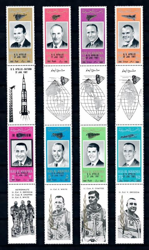 [66435] Ras Al Khaima 1967 Space Travel 4 Pairs Large Labels Once Folded MNH