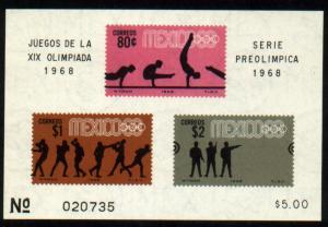 MEXICO 995a, Souvenir Sheet 4th Pre-Olympic Set MNH