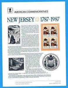 USPS COMMEMORATIVE PANEL #289 NEW JERSEY #2338