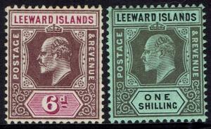LEEWARD ISLANDS 1907 KEVII 6D AND 1/-