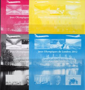Chad 2012 London Olympic/Tennis-table/CONCORDE Shlt(6) 5 COLOR PROOFS MNH