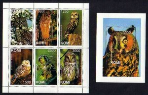 Komi, 1999 Russian Local. Owls sheet of 6 and s/sheet.
