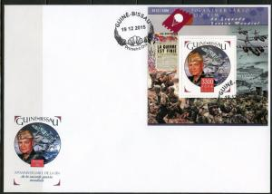 GUINEA BISSAU 2015 70th ANN END OF WORLD WAR  II DWIGHT EISENHOWER  S/S FDC