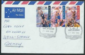 AUSTRALIA 1996 cover to Germany - nice franking - Sydney Girl Guides pmk...14777