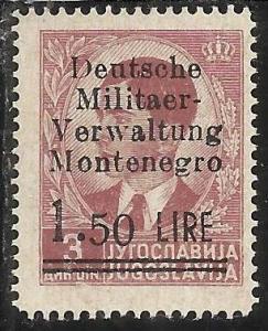 MONTENEGRO 1943 OCCUPAZIONE TEDESCA CETTIGNE SOPRASTAMPATO SURCHARGE LIRE 1,5...