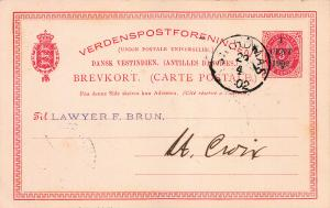 Danish West Indies, Scott #UX13 Used in 1902 from St. Thomas to St. Croix, DWI