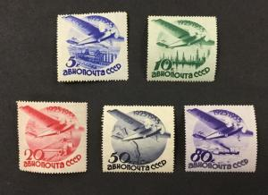 {BJ Stamps} RUSSIA, #C40-C44, 1934 set of 5 Wmk. Airmails,  Mint, VLH. CV $350
