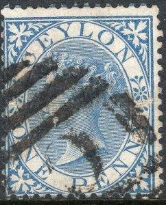 CEYLON-1856-68 1d Blue Sg 61 GOOD USED V50127