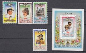 Z3992, 1981 central africa set + s/s  #457-61 royal wedding
