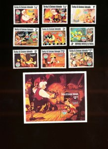 TURKS & CAICOS ISLANDS - Sc 442-451 VFMNH. DISNEY - Pinocchio, Christmas - 1980