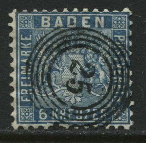Baden 1862 6 kreuzer prussian blue used with numeral 25