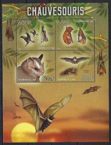 Congo MNH S/S Flying Bats Mammals 2014