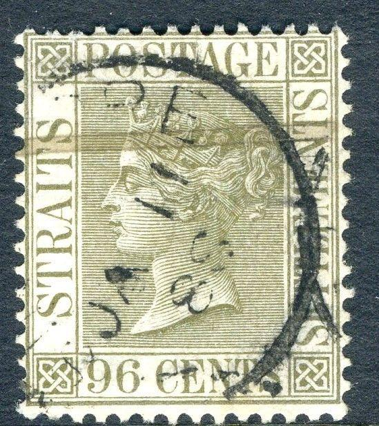 STRAITS SETTLEMENTS-1888 96C Olive-Grey Sg 71 GOOD USED V18752