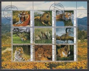 Niger, 1999 Cinderella issue. Wild Cats sheet of 9. Canceled, C.T.O.