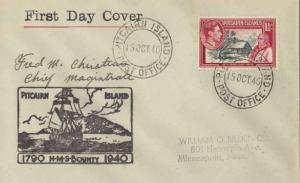 Pitcairn Island 1/- KGVI Fletcher Christian and View of Pitcairn Island and 1...