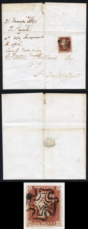 1841 Penny Red (DB) Plate 10 Four Margin with a Distorted Cross on Cover