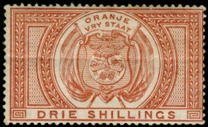 SOUTH AFRICA - Orange Free State SGF7, 3s chestnut, M MINT. Cat £50.