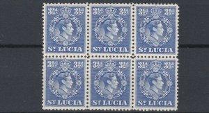ST LUCIA  1938 - 48  S G 133B  3 1/2D  ULTRA  BLOCK OF 6  MNH