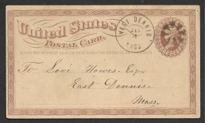 Doyle's_Stamps: West Dennis, MASS, Early State Postal History 1874 Fancy Cancel