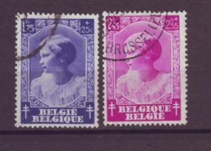 J21306 Jlstamps 1937 belgium part of set used #b206-7 princess