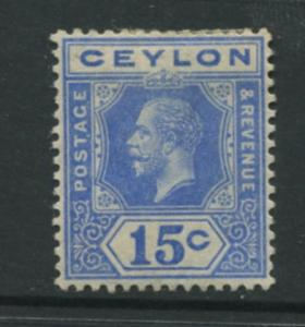 Ceylon -Scott 206 - KGV -Definitive- 1912- MH - Single 15c Stamp