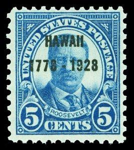 Scott 648 1928 5c Dark Blue Hawaii Overprint Issue Mint F-VF OG NH Cat $21.50