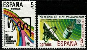 SPAIN SG2570/1 1979 WORLD TELECOMMUNICATIONS DAY MNH