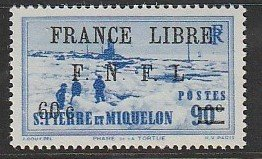 1942 St. Pierre and Miquelon - Sc 251 - MH VF - 1 single - FNFL overprint