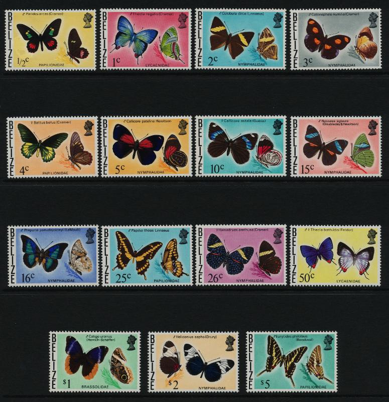 Belize 345-59 MNH Butterflies