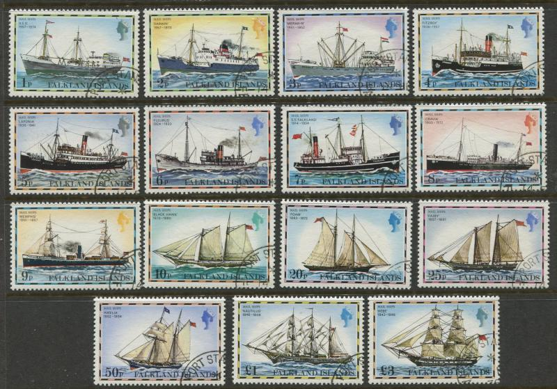 Falkland Is.- Scott 260-74 - Ships Issue - 1978 -VFU - Set of 15 Stamps