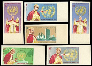 Togo 549-552,C49-C50, MNH imperf.,Pope Paul VI Visit to United Nations