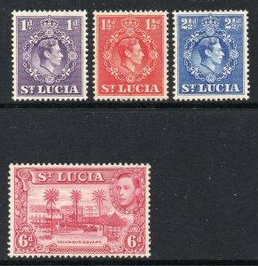 St Lucia 1938 KGVI 1d, 1½d, 2½d ALL p14½x14, + 6d SG 134a mint CV £27