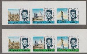 Qatar # 119-119A, John F. Kennedy Memorial, Imperf,  Revalued, NH, 1/2 Cat.