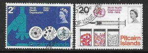 PITCAIRN ISLANDS SG92/3 1968 WORLD HEALTH ORGANISATION  FINE USED