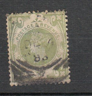 J26253  jlstamps 1887-92 great britain used #122, $ 72.50 scv short perf top