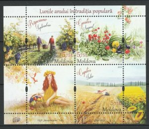 Moldova 2019 Traditional Folk Months Third Edition Jul-Aug-Sep MNH Block
