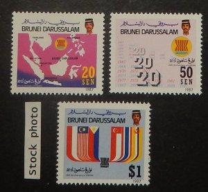 Brunei 367-69. 1987 ASEAN anniversary
