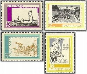 Vietnam 1968 MNH Stamps Scott 530-533 Scenes of War Airplane Railways