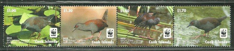 Cook Island MNH Strip 1524a-d Spotless Crake Birds WWF SCV 8.75