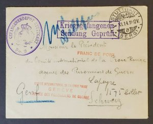 1914 Stuttgart Germany to Switzerland Feldpost WWI Military Cover